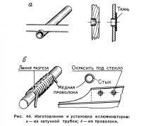Рис. 44. Изготовление и установка иллюминаторов