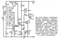 Рис. 5.14. Схема супергетеродинного приемника с переключателем канальных кварцевых резонаторов