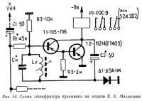 Рис. 54. Схема дешифратора приемника на модели Е. Е. Медведева