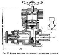 Рис. 57. Разрез двигателя «Активист» с резонансным клапаном