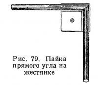 Рис. 79. Пайка прямого угла на жестянке