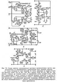 Рис. 7.9. Схемы простых двухканальных мостовых промежуточных систем