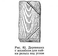 Рис. 82. Деревяшка с желобком для пайки рельса под углом