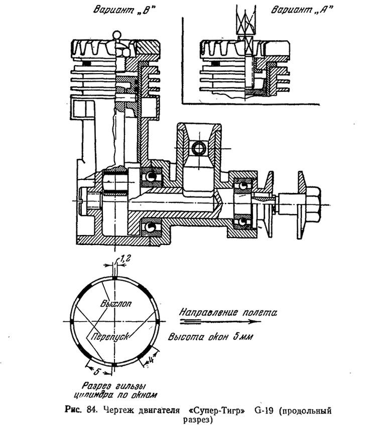 Рис. 84. Чертеж двигателя «Супер-Тигр» G-19