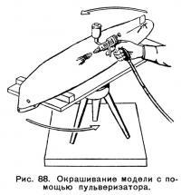 Рис. 88. Окрашивание модели с помощью пульверизатора