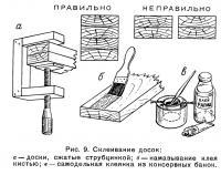 Рис. 9. Склеивание досок